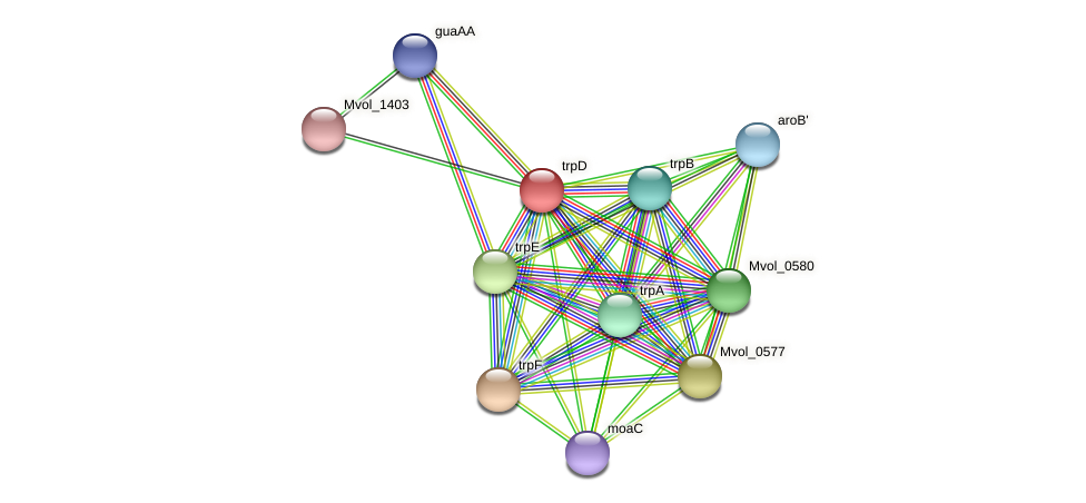 trpD protein (Methanococcus voltae) - STRING interaction network