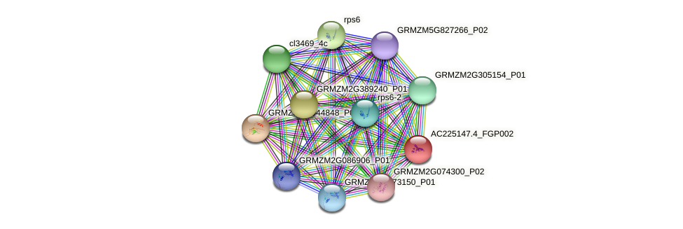 AC225147.4_FGP002 protein (Zea mays) - STRING interaction network