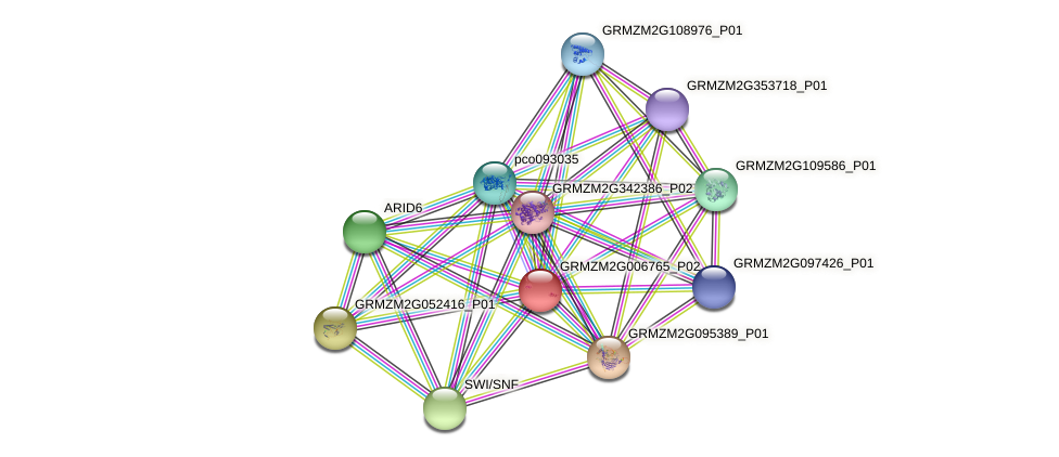 GRMZM2G006765_P02 protein (Zea mays) - STRING interaction network
