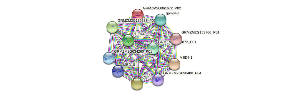MED7.1 protein (Zea mays) - STRING interaction network