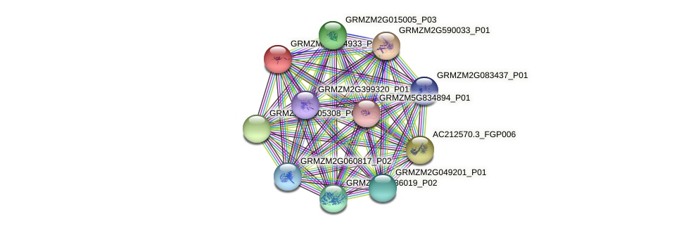 GRMZM2G064933_P01 protein (Zea mays) - STRING interaction network