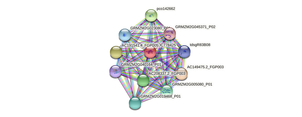 LOC778425 protein (Zea mays) - STRING interaction network