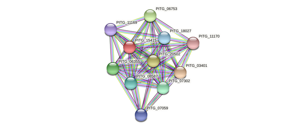 PITG_15415 protein (Phytophthora infestans) - STRING interaction network