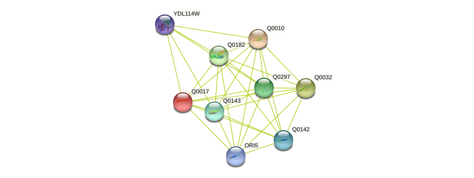 Q0017 protein (Saccharomyces cerevisiae) - STRING interaction network