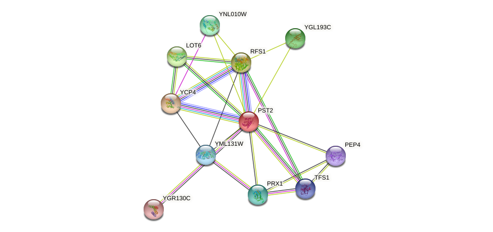 PST2 protein (Saccharomyces cerevisiae) - STRING interaction network