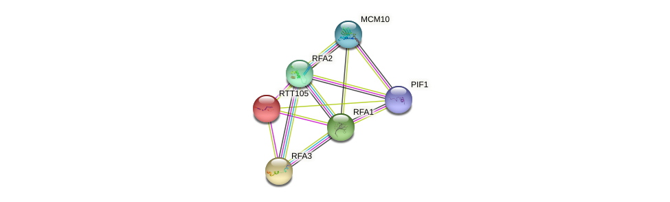 RTT105 protein (Saccharomyces cerevisiae) - STRING interaction network