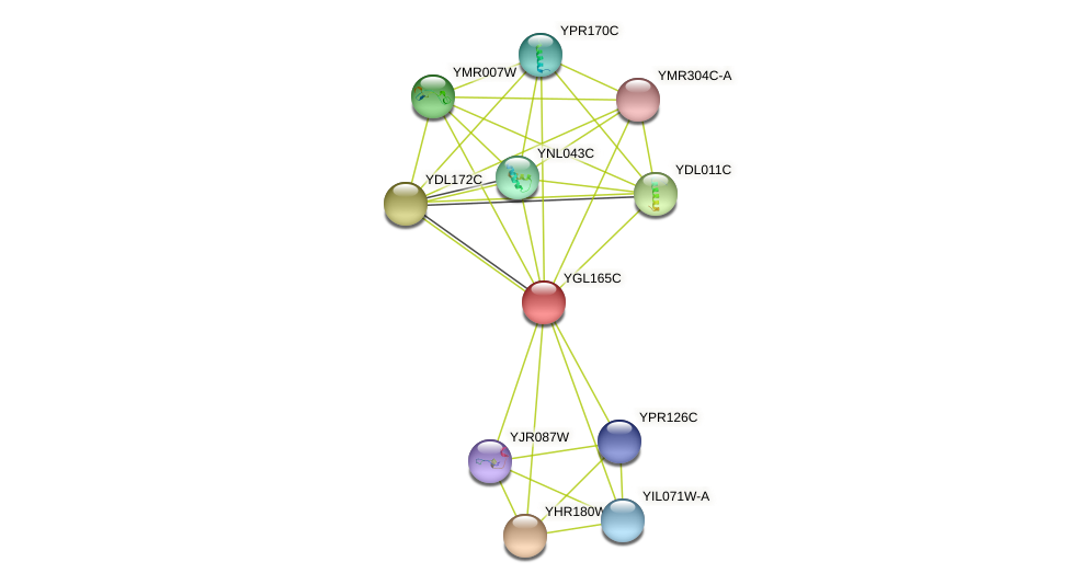 YGL165C protein (Saccharomyces cerevisiae) - STRING interaction network