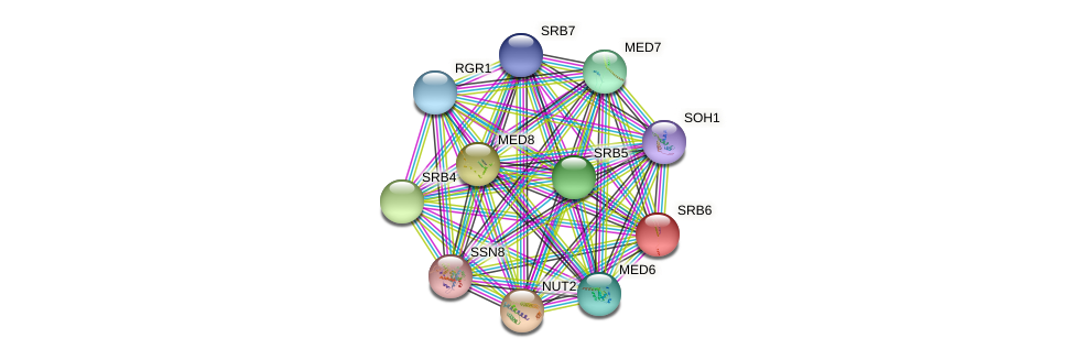 SRB6 protein (Yarrowia lipolytica) - STRING interaction network