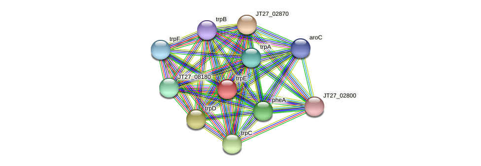 trpE protein (Alcaligenes faecalis) - STRING interaction network