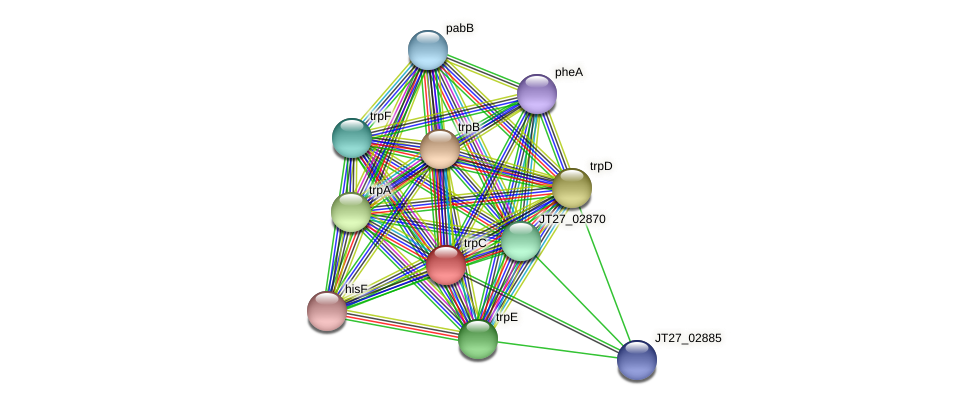 trpC protein (Alcaligenes faecalis) - STRING interaction network