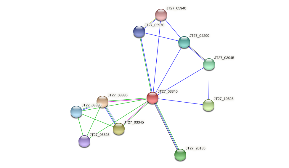 JT27_03340 protein (Alcaligenes faecalis) - STRING interaction network