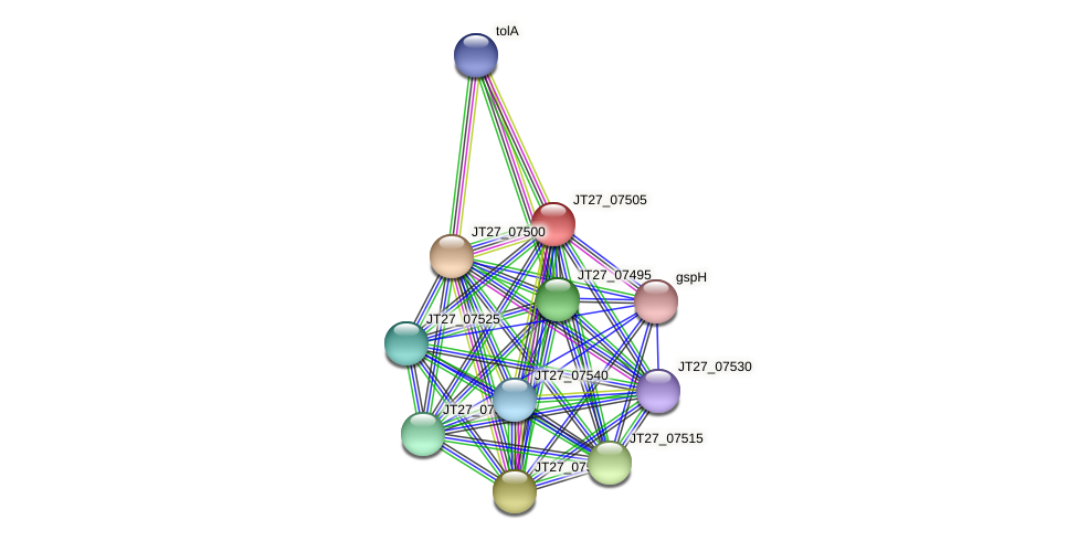 JT27_07505 protein (Alcaligenes faecalis) - STRING interaction network