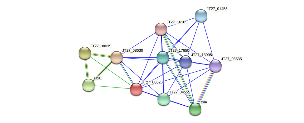 JT27_08025 protein (Alcaligenes faecalis) - STRING interaction network