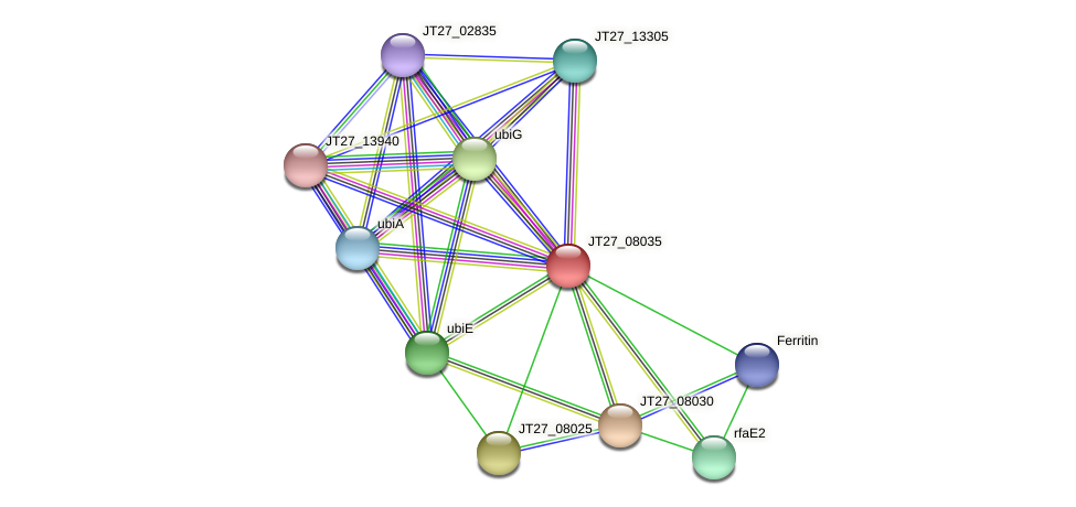 JT27_08035 protein (Alcaligenes faecalis) - STRING interaction network