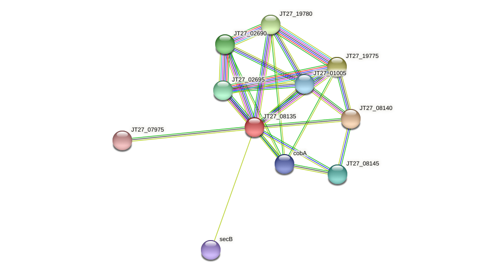 JT27_08135 protein (Alcaligenes faecalis) - STRING interaction network
