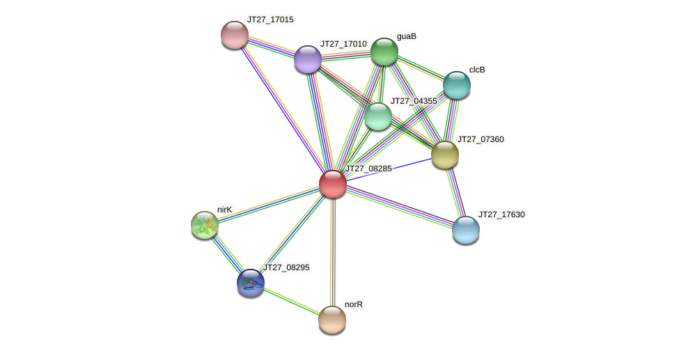 JT27_08285 protein (Alcaligenes faecalis) - STRING interaction network