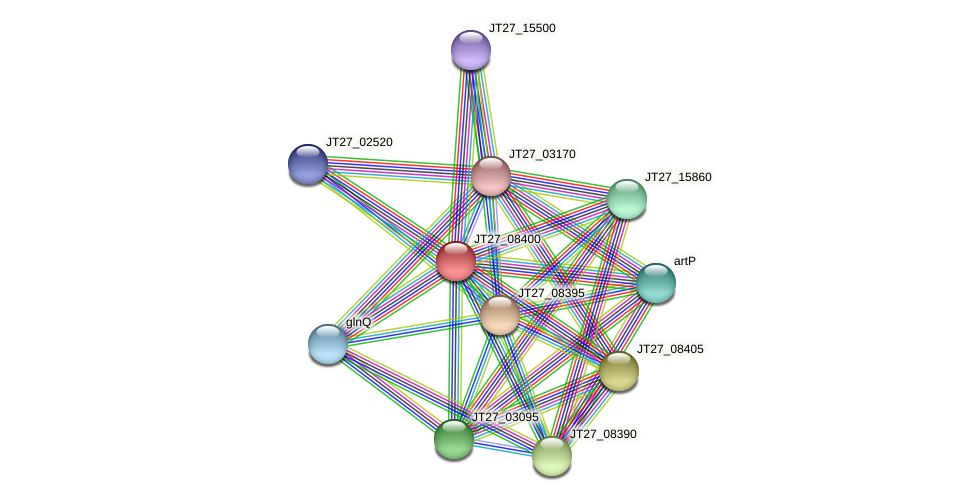 JT27_08400 protein (Alcaligenes faecalis) - STRING interaction network