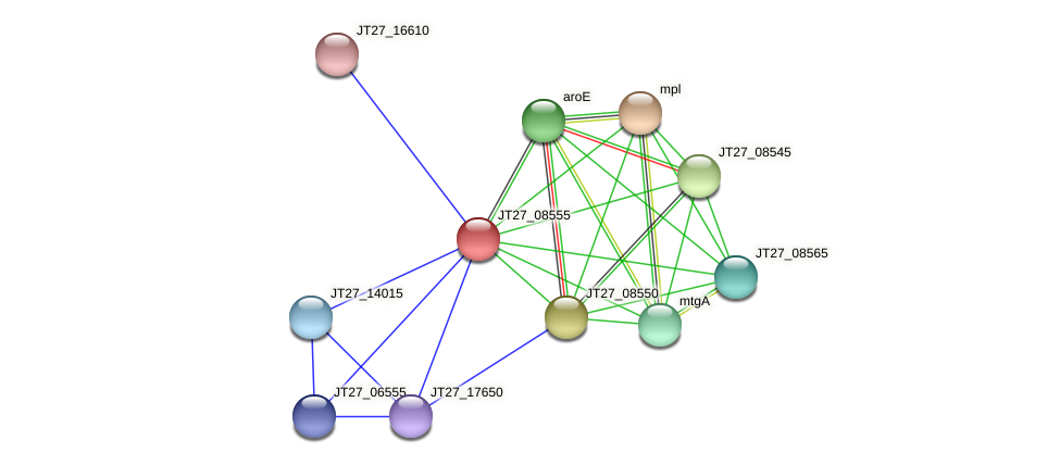 JT27_08555 protein (Alcaligenes faecalis) - STRING interaction network