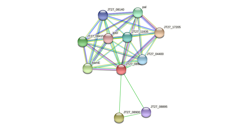 JT27_08905 protein (Alcaligenes faecalis) - STRING interaction network