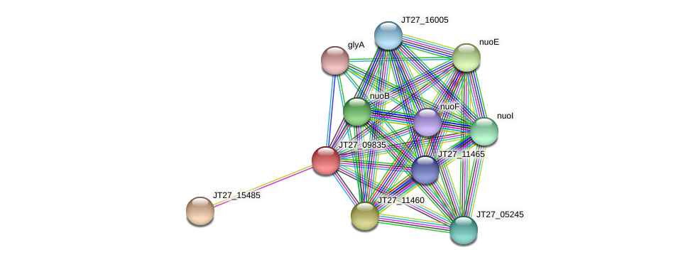 JT27_09835 protein (Alcaligenes faecalis) - STRING interaction network