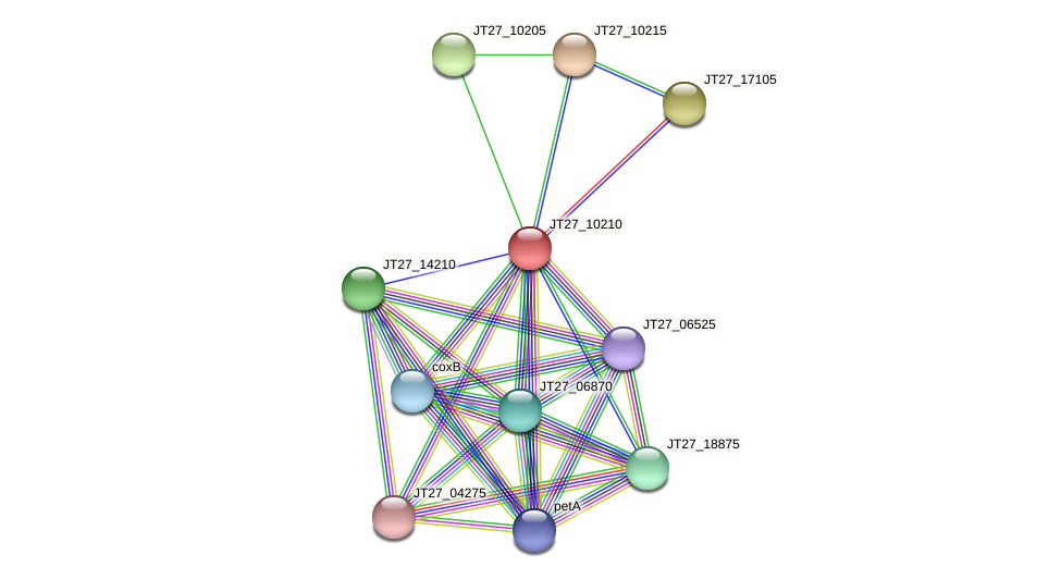 JT27_10210 protein (Alcaligenes faecalis) - STRING interaction network
