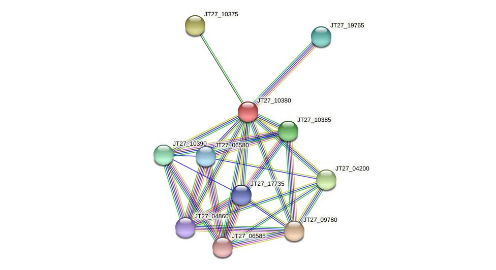 JT27_10380 protein (Alcaligenes faecalis) - STRING interaction network