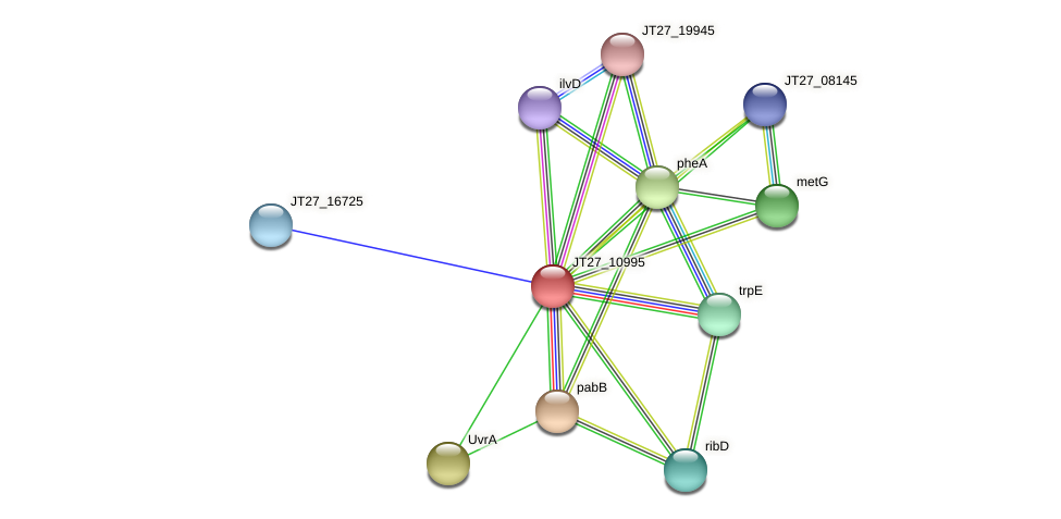 JT27_10995 protein (Alcaligenes faecalis) - STRING interaction network