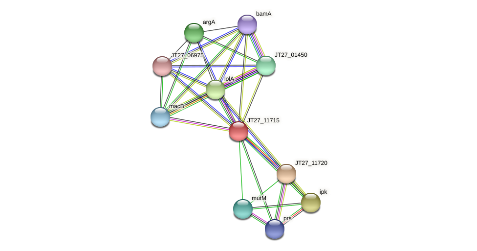 JT27_11715 protein (Alcaligenes faecalis) - STRING interaction network