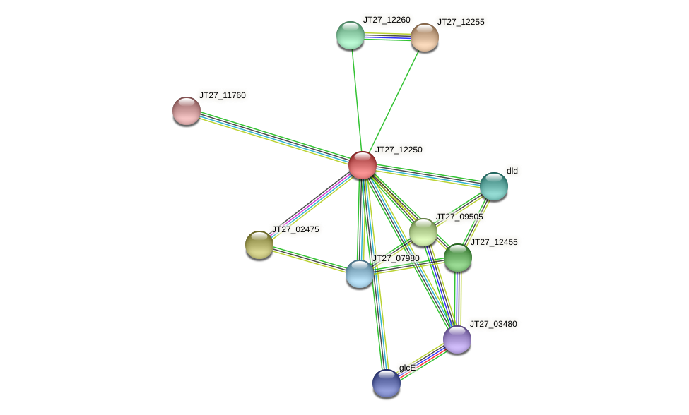 JT27_12250 protein (Alcaligenes faecalis) - STRING interaction network