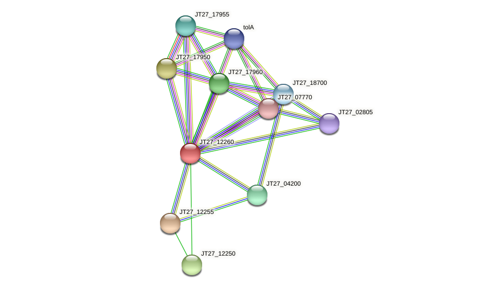 JT27_12260 protein (Alcaligenes faecalis) - STRING interaction network