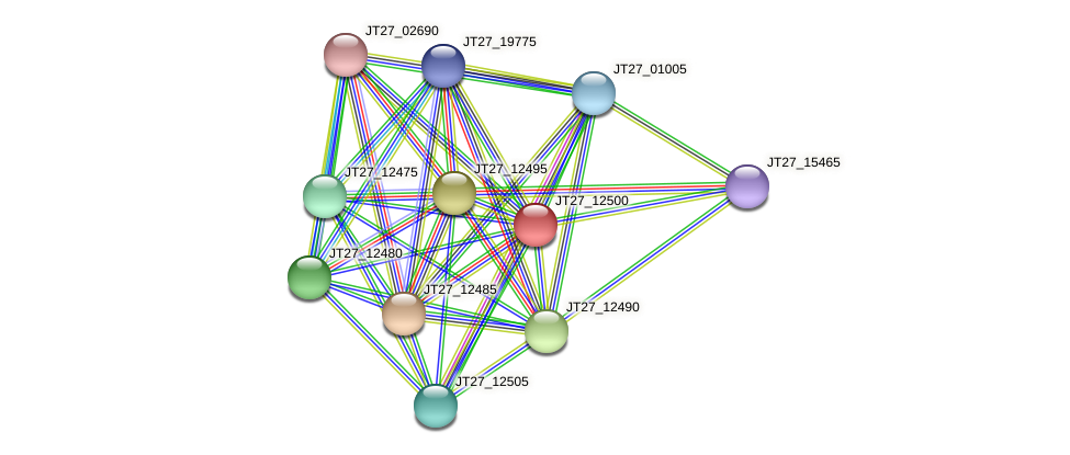 JT27_12500 protein (Alcaligenes faecalis) - STRING interaction network