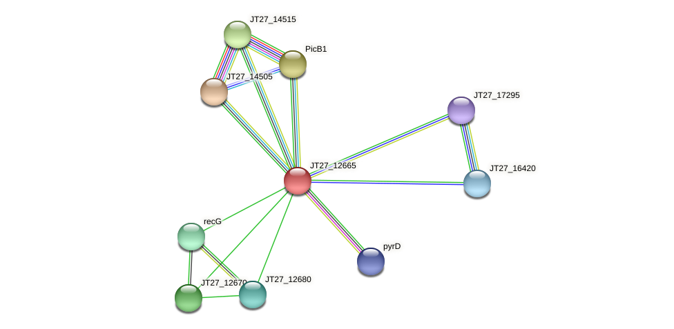 JT27_12665 protein (Alcaligenes faecalis) - STRING interaction network