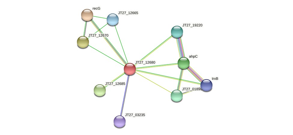 JT27_12680 protein (Alcaligenes faecalis) - STRING interaction network