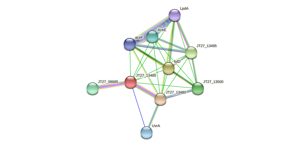 JT27_13485 protein (Alcaligenes faecalis) - STRING interaction network