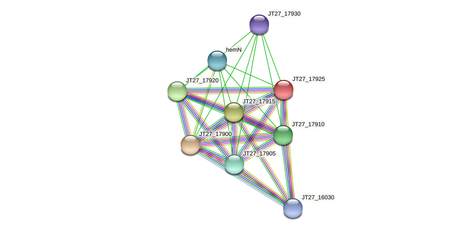JT27_17925 protein (Alcaligenes faecalis) - STRING interaction network