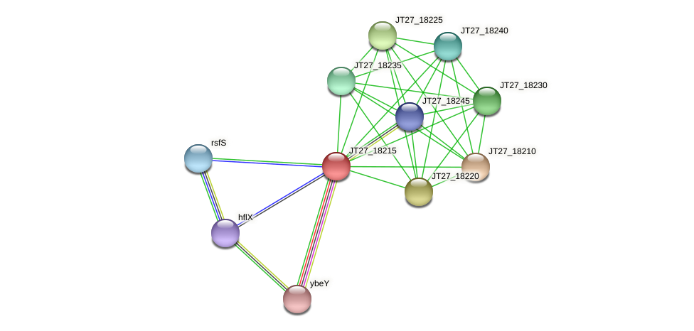 JT27_18215 protein (Alcaligenes faecalis) - STRING interaction network