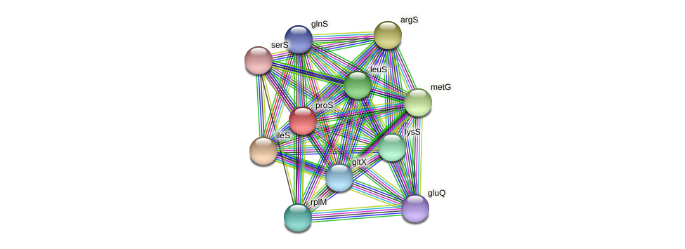 proS protein (Alcaligenes faecalis) - STRING interaction network
