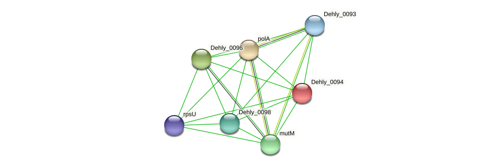 Dehly_0094 protein (Dehalogenimonas lykanthroporepellens) - STRING interaction network