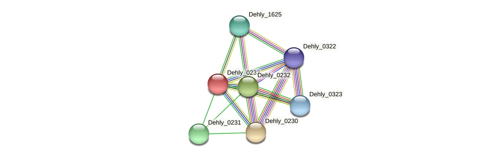 Dehly_0233 protein (Dehalogenimonas lykanthroporepellens) - STRING interaction network