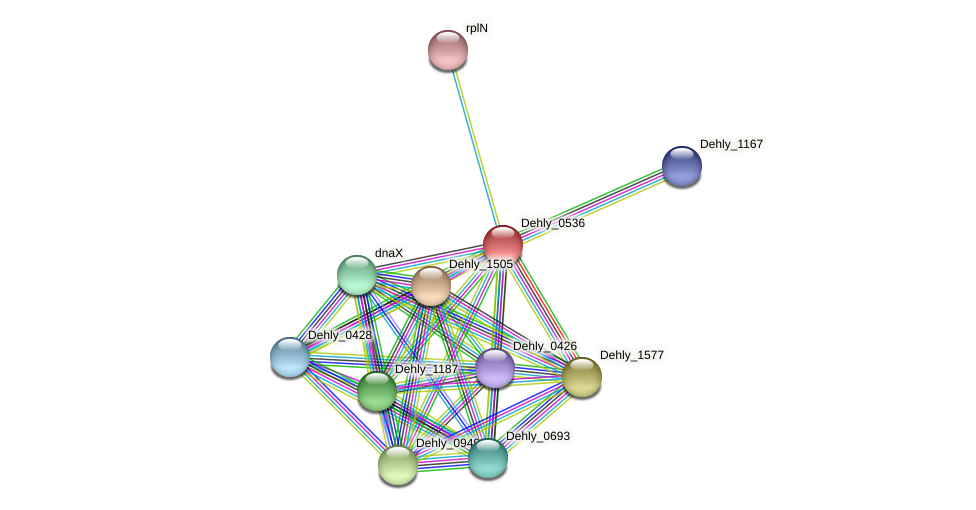 Dehly_0536 protein (Dehalogenimonas lykanthroporepellens) - STRING interaction network