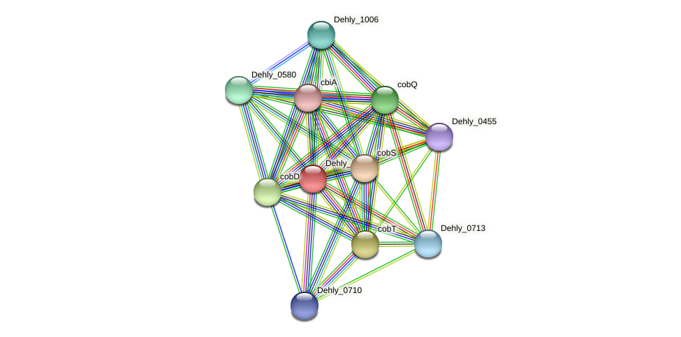 Dehly_0709 protein (Dehalogenimonas lykanthroporepellens) - STRING interaction network