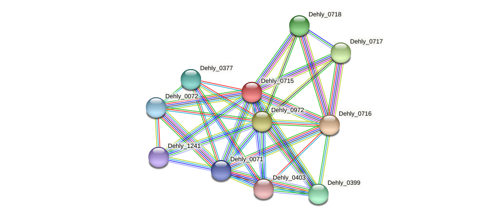 Dehly_0715 protein (Dehalogenimonas lykanthroporepellens) - STRING interaction network