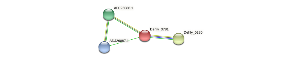 Dehly_0781 protein (Dehalogenimonas lykanthroporepellens) - STRING interaction network