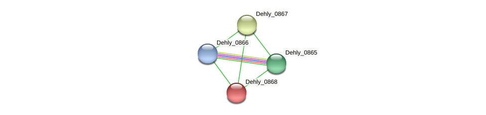Dehly_0868 protein (Dehalogenimonas lykanthroporepellens) - STRING interaction network