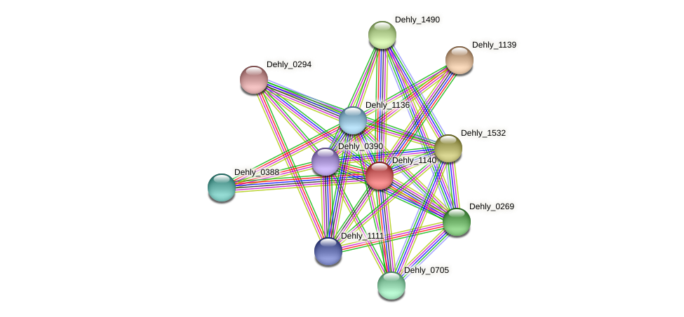 Dehly_1140 protein (Dehalogenimonas lykanthroporepellens) - STRING interaction network