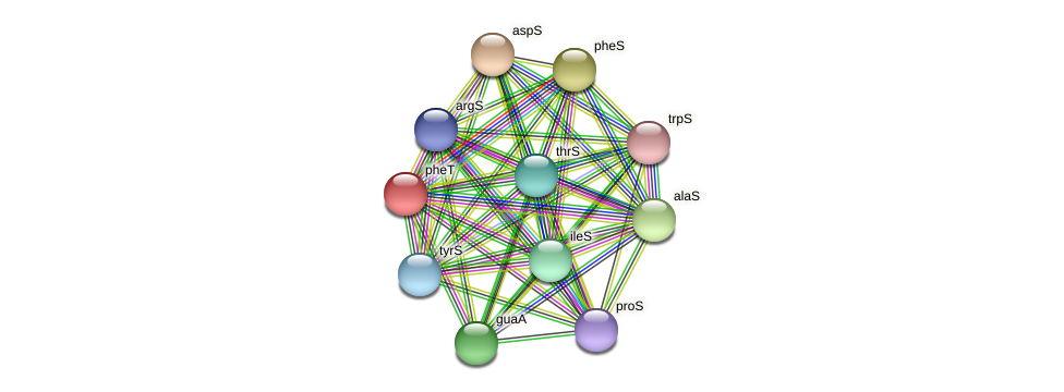 pheT protein (Dehalogenimonas lykanthroporepellens) - STRING interaction network