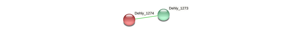 Dehly_1274 protein (Dehalogenimonas lykanthroporepellens) - STRING interaction network