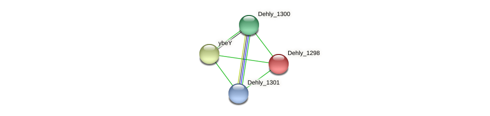 Dehly_1298 protein (Dehalogenimonas lykanthroporepellens) - STRING interaction network