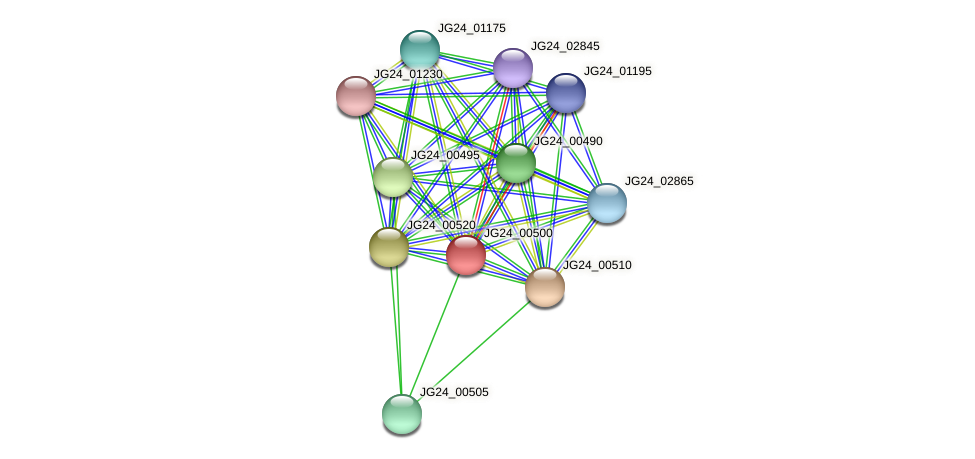 JG24_00500 protein (Klebsiella pneumoniae) - STRING interaction network