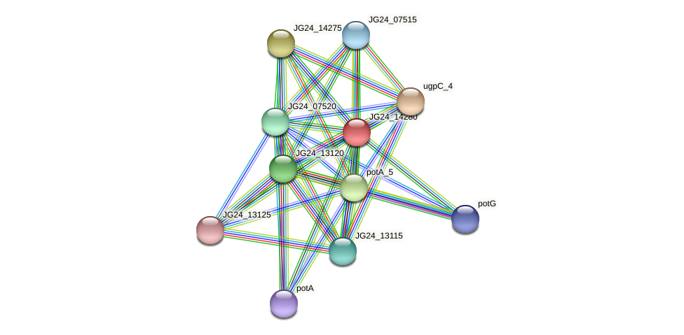 JG24_14280 protein (Klebsiella pneumoniae) - STRING interaction network